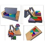 millybo Spielsofa 4in1 Couch Kindersofa Puzzle Kinderzimmersofa Spielmatratze fürs Kinderzimmer Kindermöbel Spielpolster (grau/beige)