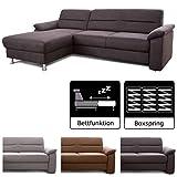 Cavadore Ecksofa Ascaro mit Longchair links, Boxspring-Sofa mit Bettfunktion im modernen Design, 254 x 84 x 171, Lederoptik Anthrazit