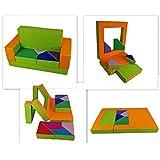 millybo Spielsofa 4in1 Couch Kindersofa Puzzle Kinderzimmersofa Spielmatratze fürs Kinderzimmer Kindermöbel Spielpolster (orange/grün)