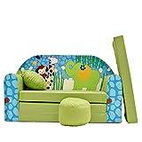 Kinder Sofa Couch Baby Schlafsofa Kinderzimmer Bett gemütlich verschidene Farben und motiven (Z16 grün Afrika)