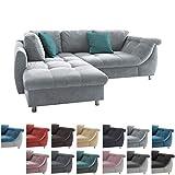 lifestyle4living Ecksofa mit Schlaffunktion in Grau mit großen Rücken-Kissen und Zierkissen, Microfaser-Stoff | Gemütliches L-Sofa mit Longchair im modernen Look