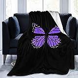 Violette Schmetterlings-Decke aus Micro-Fleece für Klimaanlagen, geeignet für Schlafsofa und Bett