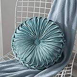 Lucoss Zierkissen Home 35cm rundes Wurfkissen Handgefertigtes Kürbissamt Samt Dekoratives Rückenkissen Kissen für Couch Wohnzimmer Stuhl Couch Schlafsofa (Blauer See)