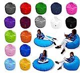 Patchhome 2 in 1 Funktion Sitzsack Sitzkissen Bean Bag - Hellblau - 125cm Durchmesser in 25 Farben und 3 versch. Größen - fertig befüllt
