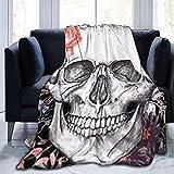 HDAXIA Decke Kuscheldecke,Art Rose Skull, warmes ultraweiches Flanellvlies Leichte Decke Schlafsofa Wohnzimmer Schlafzimmer für Erwachsene Kinder