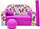 Pro Cosmo M33 Kinder-Schlafsofa mit Sitzkissen, Stoff, dunkelviolett, 168 x 98 x 60 cm, Baumwolle