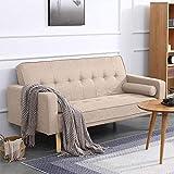 Wohnzimmer grau Schlafsofa 2-Sitzer Leinen Schlaf Futon Doppel-Schlaf für Schwellen Erwachsene Schlafsaal Schlafzimmer Büro,Beige