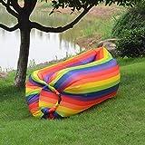 YDJGY Mittagspause Lazy Inflatable Air Schlafsofa Tragbar Einfach Zusammenklappbar Schnell Aufblasbar Air Sofa Aufblasbar Lazy Schlafsack Lazy Inflatable Hocker,Rainbow