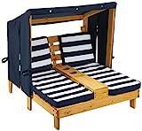 KidKraft 00524 Doppelte Sonnenliege mit Getränkehaltern Doppelliege, Chaiselongue aus Holz, Honigfarben