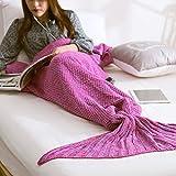 Wuiyepo Meerjungfrau Strickmuster Decke All Seasons Gestrickte Seatail Decke, Schlafsack Schlafsofa Snuggle Mermaid (violett Rote-2)