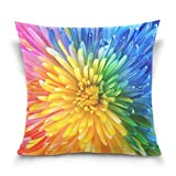 YUNYANG Kissenbezug 18x18 Zoll, Bunte Regenbogenblume dekorative Kissenbezüge Kissenbezug für Couch Schlafsofa Home