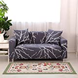 HYSENM 1/2/3/4 Sitzer Sofabezug Sofaüberwurf Stretch weich elastisch farbecht Blumen-Muster, Grau 2 Sitzer 145-185cm