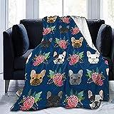 HDAXIA Kuscheldecke Decke,Französische Bulldogge Blumen, Warme Ultra-Weiche Flanell Fleece Leichte Decke Schlafsofa Decke Für Erwachsene Und Kinder 80'X 60'