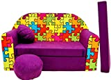 BDW Schlafsofa für Kinder mit Sitzhocker/Kissen, Coton, Violett 168 x 98 x 60 cm