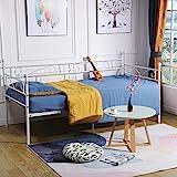 DORAFAIR Klassisch Bettsofa Schlafsofa für Kinderzimmer Gästezimmer,Einzelbett Single Bett Metallbett Tagesbett,Beige