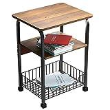Beistelltisch 3 Stufiger Beistelltisch Nachttisch Mesh-Lager Tisch für Wohnzimmer, Schlafzimmer, Flur, Büro, stabil, einfacher Aufbau, Vintage Braun + Schwarz
