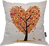 Baum Kissenbezug Liebe Herz Bäume Herbst Schmetterling Blume Ahorn Blätter werfen Kissenbezug Baumwolle Leinen Quadrat Kissen dekorative Abdeckung für Schlafsofa Orange