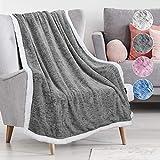 Catalonia Classy Grey Sherpa Throw Blanket, Superweiche Flauschige TV-Decken aus flauschigem Plüschsamt und Überwürfe für Schlafsofas für Erwachsene und Kinder, 150 x 130 cm, Melange Dunkelgrau