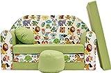 Pro Cosmo Schlafsofa für Kinder mit Sitzhocker/Kissen, Coton, grün, 168 x 98 x 60 cm