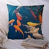 N\A Dekorative Kissenbezüge für Schlafsofa Couch Yellow Aquatic Bunte japanische Koi-Karpfen Fische Schöne Tiere Wildlife Nature Asia Asian Autumn Soft Kissenbezug
