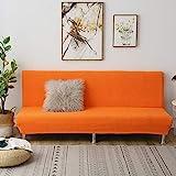 C/N Sofabezug ohne armlehnen Stretch Armlose Sofabezüge Sofahusse Ohne Armlehne 3 sitzer Schlafsofa bezug sofaüberwurf Klappschlafsofa bezug elastisch Orange