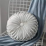 Lucoss Zierkissen Home 35cm rundes Wurfkissen Handgefertigtes Kürbissamt Samt Dekoratives Rückenkissen Kissen für Couch Wohnzimmer Stuhl Couch Schlafsofa (Weiß)