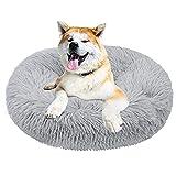 Dololoo Haustierbett für Katzen und Hunde Rundes Plüsch Hundebett Katzenbett (Größe:50cm, Hellgrau) Mehrweg