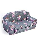 MuseHouse Kindersofa Kindercouch Kindersessel Sofa Bettfunktion Kindermöbel (Gray/Dolls)