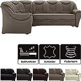Cavadore Schlafsofa Bensil mit Federkern Sofa L-form mit Bett, Kunstleder, hellbraun, 265 x 94 x 215 cm