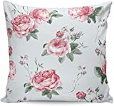 MODORSAN Rosa Blume Rose Blumenkissenbezüge 18x18 Zoll quadratischer Kissenbezug,weiche Moderne Sofa-Kissenbezug für Bauernhaus-Heimdekorationen Couch-Schlafsofa nach Hause