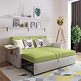 Tacxy Futonsofa, Schlafsofa, Klappsofa, Multifunktionales Zwei-Personen-Sofa Mit USB-Ladeanschluss, Aufbewahrungsset Und Couchtisch Für Wohnzimmermöbel, Grün, 200 cm (150cm)