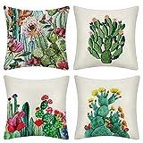JOTOM Bunte Kaktus Serie Leinen Kissenbezüge Dekorative Platz Blumen Dekokissen Fall Kissenbezüge für Couch Wohnzimmer Schlafsofa 45 cm x 45 cm 18 x 18 Zoll (Kaktus C)
