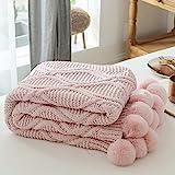 MYLUNE HOME Stilvolle Chenille Strickdecke für Fernsehen oder Nap auf dem Stuhl Sofa und Bett 130 * 160cm Rosa