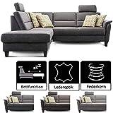 Cavadore Schlafsofa Palera mit Federkern / L-Form Sofa mit Schlaffunktion / 236 x 89 x 212 / Büffellederoptik Dunkelgrau