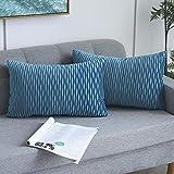 Yeadous Türkise gestreifte dekorative Kissenbezüge für Sofa, Couch, Bett, klassische Samt, gewellte Streifen, Wurfkissen, 30 x 50 cm, 2 Stück