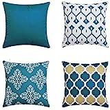 LIANNAO 4er Set Dekorativ Kissenbezug Geometrische Muster Dekorative Platz Dekokissen Fall Kissenbezüge für Couch Wohnzimmer Schlafsofa mit unsichtbaren Reißverschluss 20x20 Zoll 50x50 cm Blau