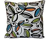 Bullahshah Schöne geometrische Wildlederblätter Druck auf beige Jute Finish 16 x 16 Kissenbezug für Schlafsofa (Orange, Grün, Blaue Blätter auf Beige)