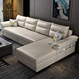 SND-A Klappschlafsofa, Multifunktionale Couch L-Förmiges Eckschlafsofa Cabrio-Bett Loveseat Wohnzimmermöbel Mit Aufbewahrungsbox Und USB-Aufladung Bequemes Polstersofa,2.65M