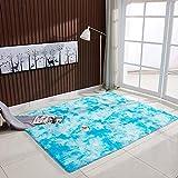 HirrWill Langhaariges nordisch-minimalistisches Schlafsofa aus Wollteppich mit Farbverlauf und vielen Teppichen, hellblau, 80 * 120 cm