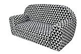 MuseHouse Kindersofa Kindercouch Kindersessel Sofa Bettfunktion Kindermöbel (Black/Whit Triangles)