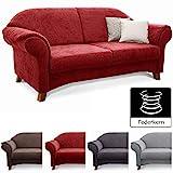 Cavadore 2-Sitzer Sofa Maifayr mit Federkern / Moderne 2-sitzige Couch im Landhausstil mit Holzfüßen / 164 x 90 x 90 / rot