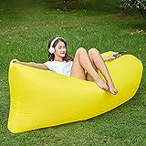 GOPG Outdoor Tragbare Luft Schlafsofa Aufblasbare Laken Menschen Lässig Schnell Aufblasbare Bett Faul Strand Sofa-Gelb