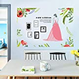 Wandaufkleber Schöne Landschaft Mädchen bunte Blume Home Decor für Schlafzimmer Wohnzimmer Schlafsofa Dekoration Kunst Stikers
