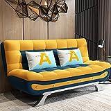 SND-A Wohnzimmer Couch Schlafsofa, Multifunktionales Faltbares Doppelschlafsofa Cabrio-Bett, 3 Ebenen Verstellbarer Rückenlehnenwinkel, Kleine Wohnung Faul Loveseat Sofa,Orange,90CM
