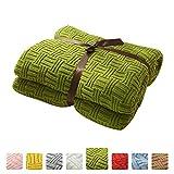 MYLUNE HOME 100% Baumwolle Stilvolle Strickdecke für Fernsehen oder Nap auf dem Stuhl, Sofa und Bet(180x200cm,Green)