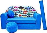 Minisofa Kindersofa Kindercouch Schlafsofa Sofabett Mini Couch mit Kissen und Sitzkissen DUNKELBLAU AUTOS