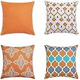 LIANNAO 4er Set Dekorativ Kissenbezug Geometrische Muster Dekorative Platz Dekokissen Fall Kissenbezüge für Couch Wohnzimmer Schlafsofa mit unsichtbaren Reißverschluss 22x 22 Zoll 55 x 55 cm Orange