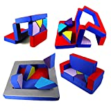 millybo Spielsofa 4in1 Couch Kindersofa Puzzle Kinderzimmersofa Spielmatratze fürs Kinderzimmer Kindermöbel Spielpolster (blau/rot)