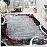Paco Home Wohnzimmer Teppich Bordüre Kurzflor Meliert Modern Hochwertig Grau Schwarz Rot, Grösse:200x280 cm