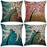 MIULEE 4er Pack Bäume Blumen Leinen Kissenbezüge Dekorative Platz Dekokissen Fall Kissenbezüge für Couch Wohnzimmer Schlafsofa mit unsichtbaren Reißverschluss 45 cm x 45 cm, 18 x 18 Zoll